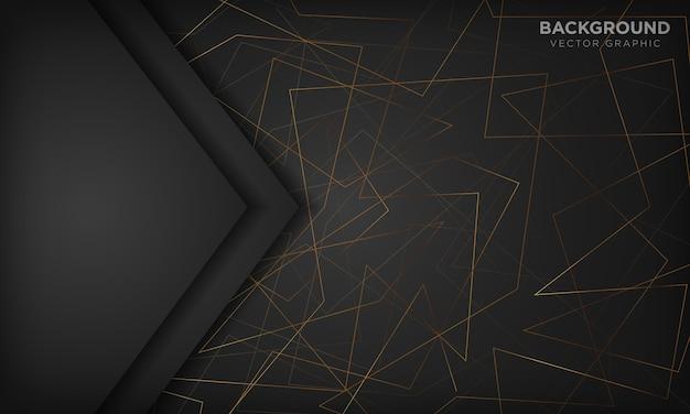 Czarne tło z złote linie. nowoczesna koncepcja technologii.