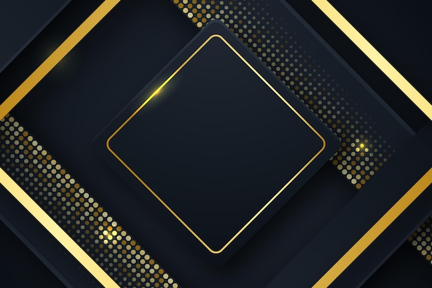 Czarne tło ze złotą kwadratową ramką