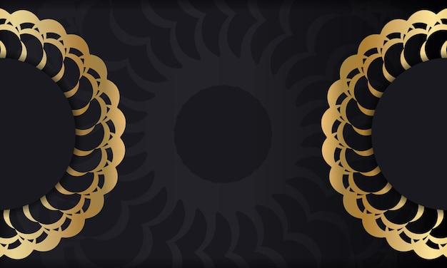 Czarne tło ze złotym luksusowym ornamentem