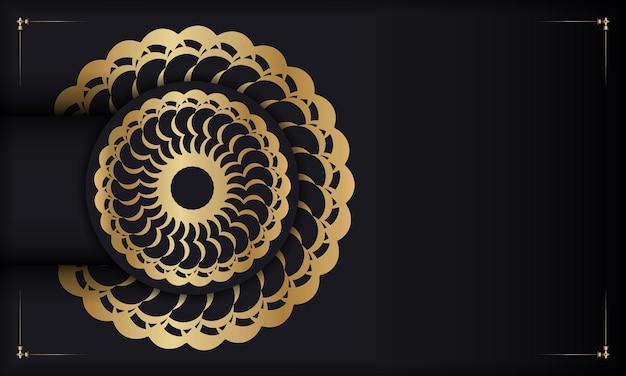 Czarne tło ze złotym luksusowym wzorem