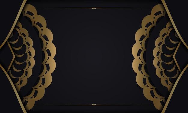 Czarne tło ze złotym ornamentem mandali