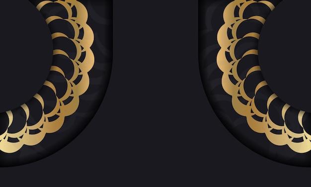 Czarne tło ze złotym wzorem vintage