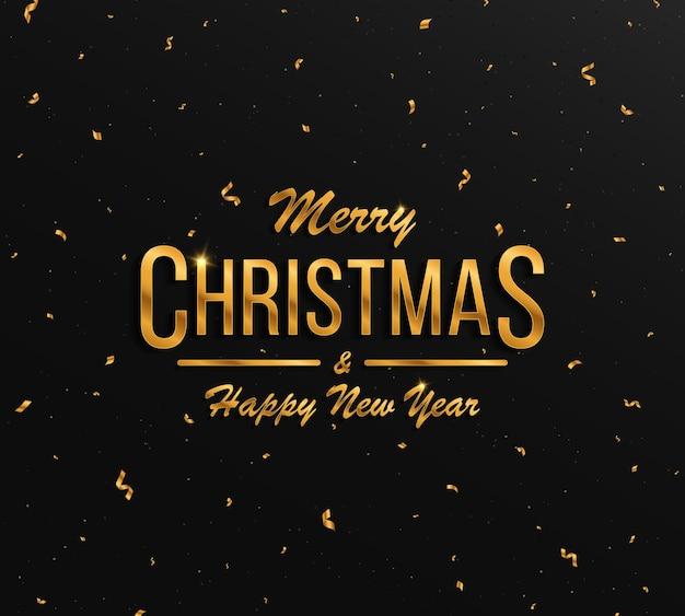 Czarne tło ze złotymi literami ze złotym konfetti kartka świąteczna