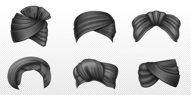 Czarne turbany indyjskie i arabskie nakrycia głowy dla mężczyzny i kobiety realistyczny zestaw