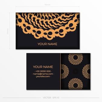 Czarne wizytówki reprezentacyjne. ozdobne ozdoby wizytówki, orientalny wzór, ilustracja. gotowe do druku, spełniające potrzeby drukowania