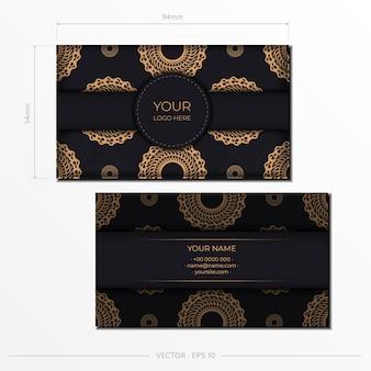 Czarne wizytówki reprezentacyjne. ozdobne ozdoby wizytówki, orientalny wzór, ilustracja.