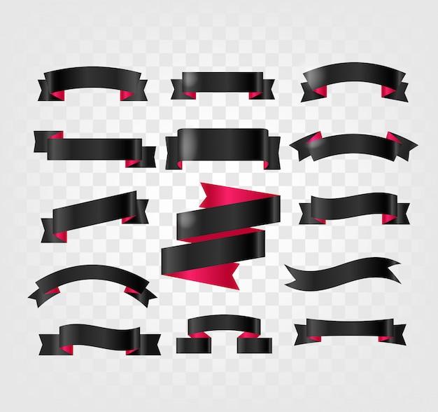 Czarne wstążki clipartów na przezroczystym tle