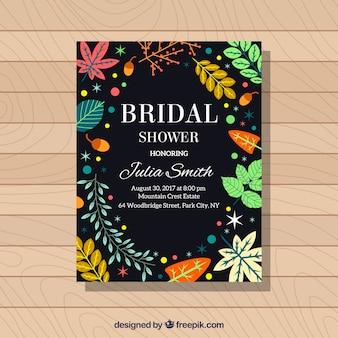 Czarne zaproszenie ślubne prysznicowe z kolorową roślinnością