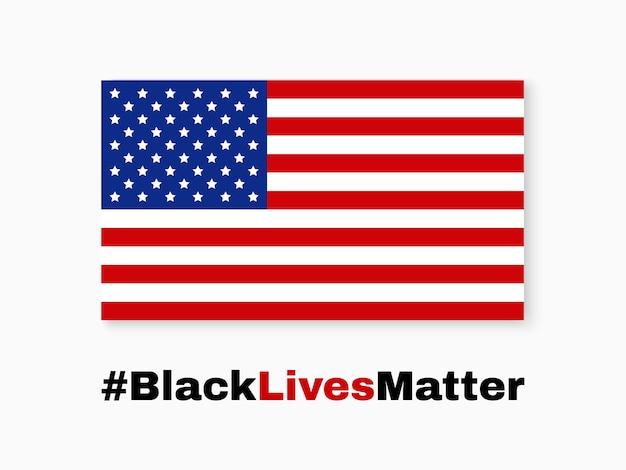 Czarne życie ma znaczenie. flaga usa.