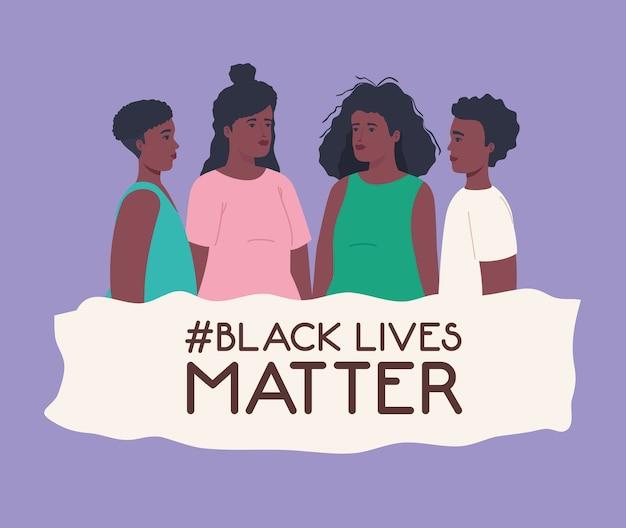 Czarne życie ma znaczenie, grupuj afrykańskich ludzi na fioletowym tle, powstrzymaj rasizm.