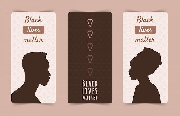 Czarne życie ma znaczenie. powstrzymaj rasizm i przemoc. sylwetki afrykańskiego mężczyzny i kobiety. zestaw plakatów społecznościowych i banerów internetowych. nowoczesna ilustracja w stylu płaski.