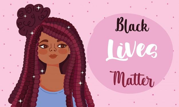 Czarne życie ma znaczenie, protest kobiety afro z ilustracją wektorową frazy