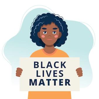 Czarne życie ma znaczenie. protestujący czarna kobieta trzyma plakat.