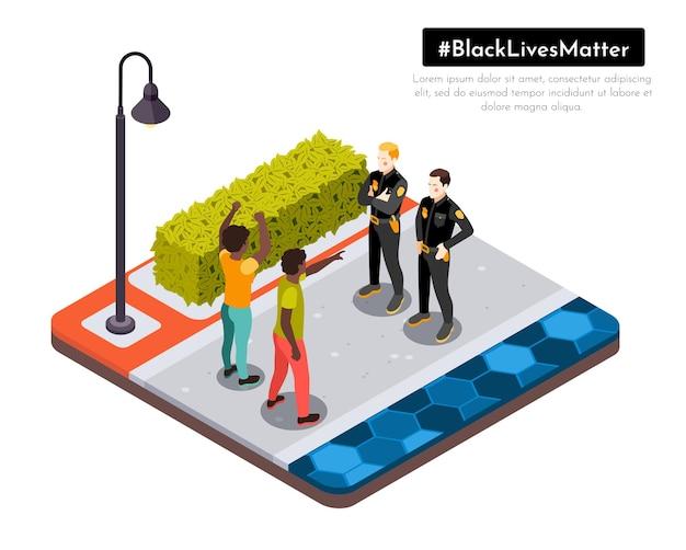 Czarne życie ma znaczenie ruch rasowej niesprawiedliwości protestujący na ulicach konfrontują się z izometryczną kompozycją ilustracji policji