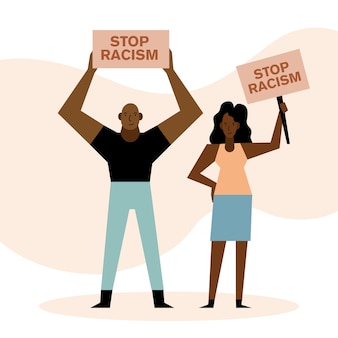 Czarne życie ma znaczenie, zatrzymuje rasizm, kobieta i mężczyzna projektują motyw protestu.