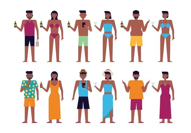 Czarni ludzie na plaży latem