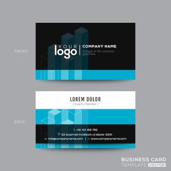 Czarno-aqua niebieski nowoczesny design wizytówka