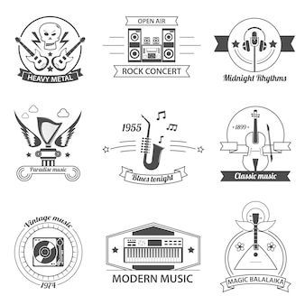 Czarno-białe etykiety z muzyką