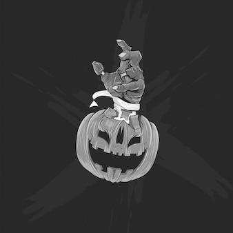 Czarno-biała głowa dyni i ręka zombie na plakat halloween, baner i koszulkę