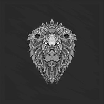 Czarno-biała głowa lwa w kwiaty