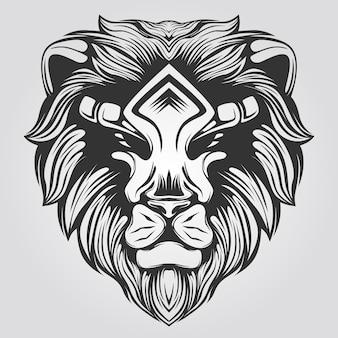 Czarno-biała grafika liniowa lwa do kolorowanka