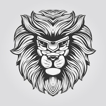 Czarno-biała grafika liniowa lwa