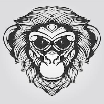 Czarno-biała grafika liniowa małpy na tatto lub kolorowankę