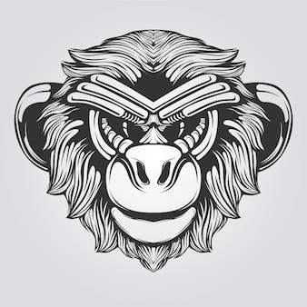 Czarno-biała grafika liniowa małpy