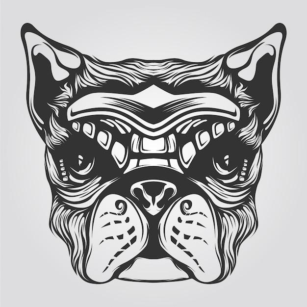 Czarno-biała grafika liniowa psa na tatto lub kolorowankę