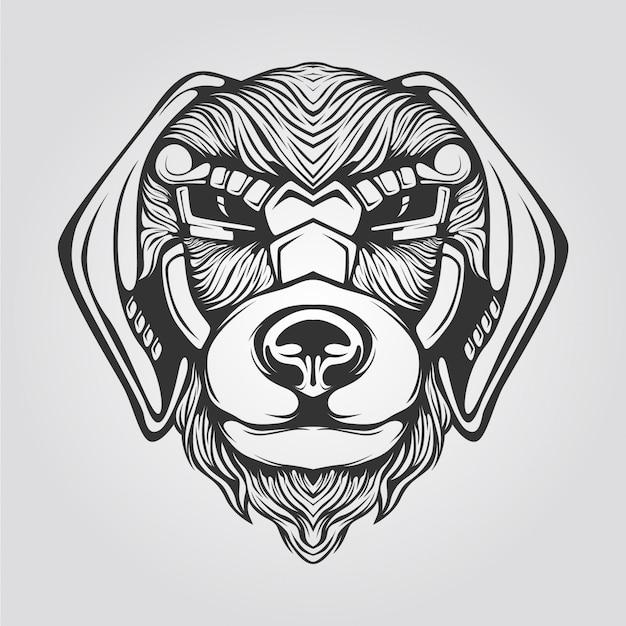 Czarno-biała grafika liniowa psa