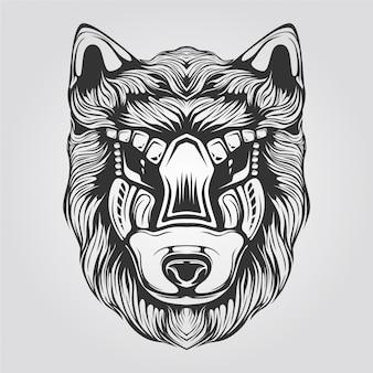 Czarno-biała grafika liniowa wilka na tatto lub kolorowankę