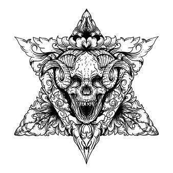 Czarno-biała ilustracja diabeł czaszka z podwójnym trójkątem i premium ornament grawerowania