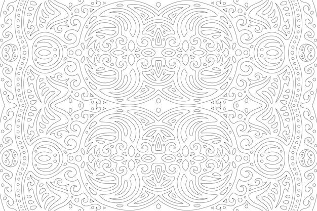 Czarno-biała ilustracja dla dorosłych kolorowanka z pięknym abstrakcyjnym wzorem liniowym