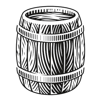 Czarno-biała ilustracja drewnianej beczki w stylu grawerowania na białym tle.