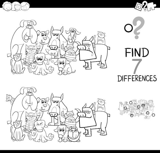 Czarno-biała ilustracja gry różnic