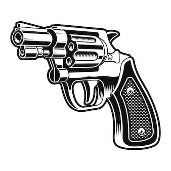 Czarno-biała ilustracja krótkiego rewolweru na białym tle