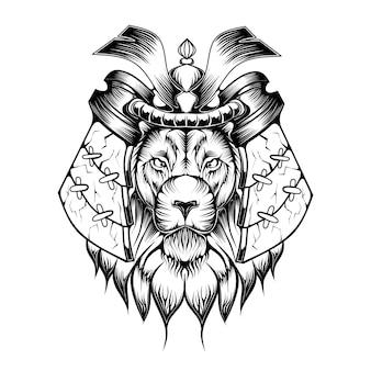 Czarno-biała ilustracja lwa na temat samuraja