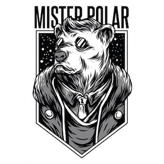 Czarno-biała ilustracja mister polar