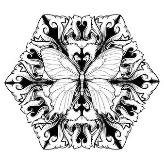 Czarno-biała ilustracja motyl i grawerowanie ornament premium