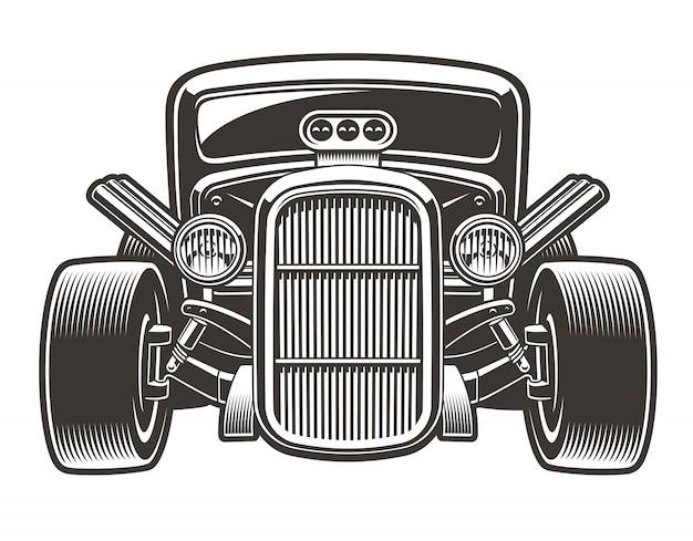 Czarno biała ilustracja rocznika hot rod. ilustracja ma białe tło, można zmienić kolor, wykorzystać jako element projektu.