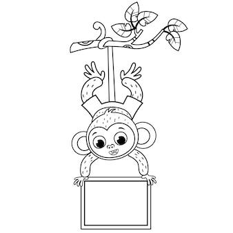 Czarno-biała ilustracja słodkiej małpy ilustracja wektorowa