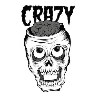Czarno-biała ilustracja szalonej czaszki