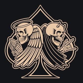 Czarno-biała ilustracja szkieletu anioła kontra szkielet diabła,