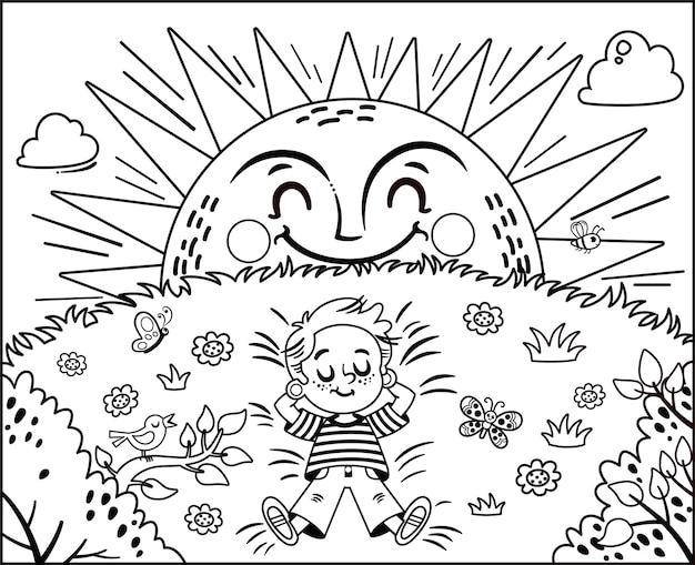 Czarno-biała ilustracja wektorowa mały chłopiec cieszący się aktywnością malowania słońca