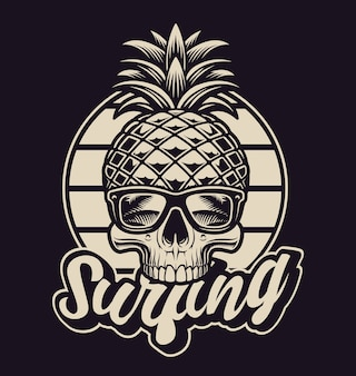 Czarno-biała ilustracja z ananasową czaszką w stylu vintage. jest to idealne rozwiązanie do logo, nadruków na koszulach i wielu innych zastosowań.