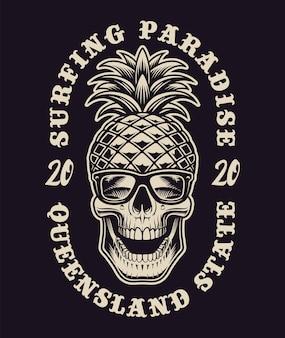 Czarno-biała ilustracja z czaszką na temat surfingu. jest to idealne rozwiązanie do logo, nadruków na koszulach i wielu innych zastosowań.