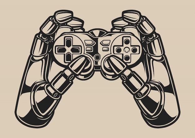 Czarno-biała ilustracja z ręką robota i joystickiem do gier na białym tle