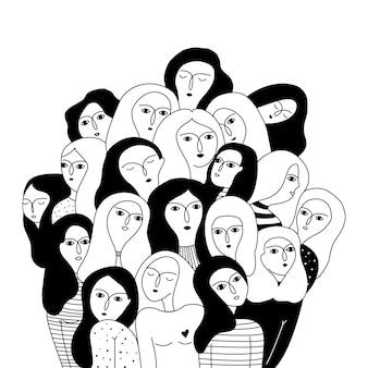 Czarno-biała ilustracja z twarzy kobiet.