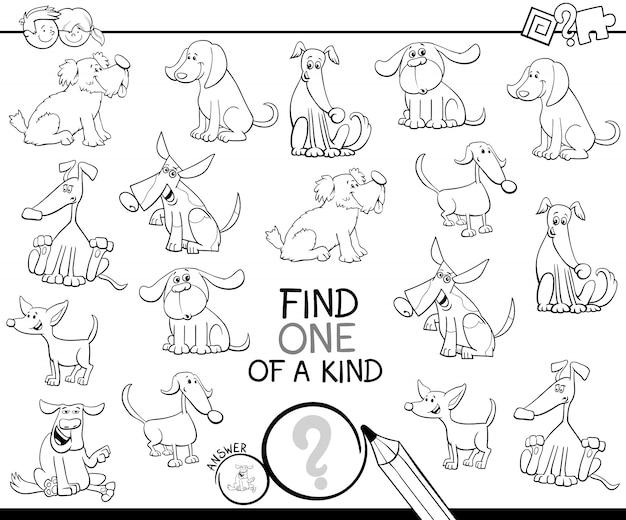 Czarno-biała ilustracja znajdź jedną z miłej gry dla dzieci ze znakami psa