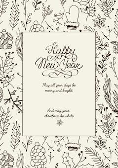 Czarno-biała karta kreatywnych szczęśliwego nowego roku